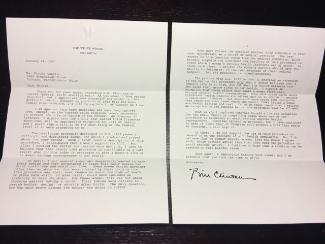 Letter from President Clinton in response to his veto on partial birth abortion ban